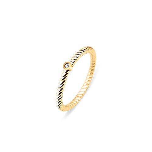 PAUL HEWITT Damenring Gold North Star - Damen Edelstahl Ring (vergoldet) mit Swarovski-Stein, Fingerring für Frauen