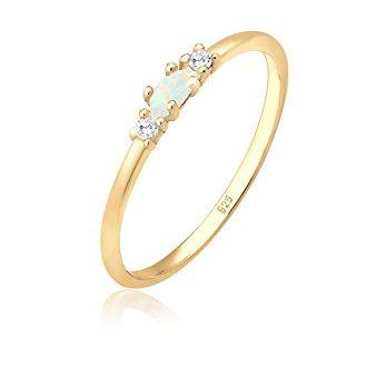 Elli Ring Damen Vintage mit Zirkonia Kristallen und Opal in 347x330 - Elli Ring Damen Vintage mit Zirkonia Kristallen und Opal in 925 Sterling Silber vergoldet