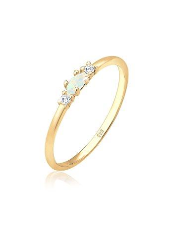 Elli Ring Damen Vintage mit Zirkonia Kristallen und Opal in - Pretiosen