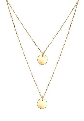 Elli Damen Schmuck Echtschmuck Halskette Kette Anhänger Layer Geo Kreis Basic Sterling Silber 925 Vergoldet Länge 45 cm