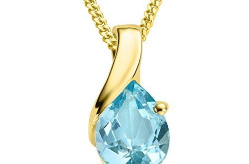 Miore Kette Damen Halskette mit tropfen Anhänger Edelstein/Geburtsstein Topas in blau Kette aus Gelbgold 9 Karat / 375 Gold, Halsschmuck 45 cm lang