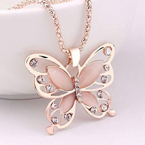 Lorenlli Mode Damen Lady Anhänger Halskette Damen Rose Gold Opal Schmetterling Anhänger Halskette Pullover Kette Schmuck Geschenk